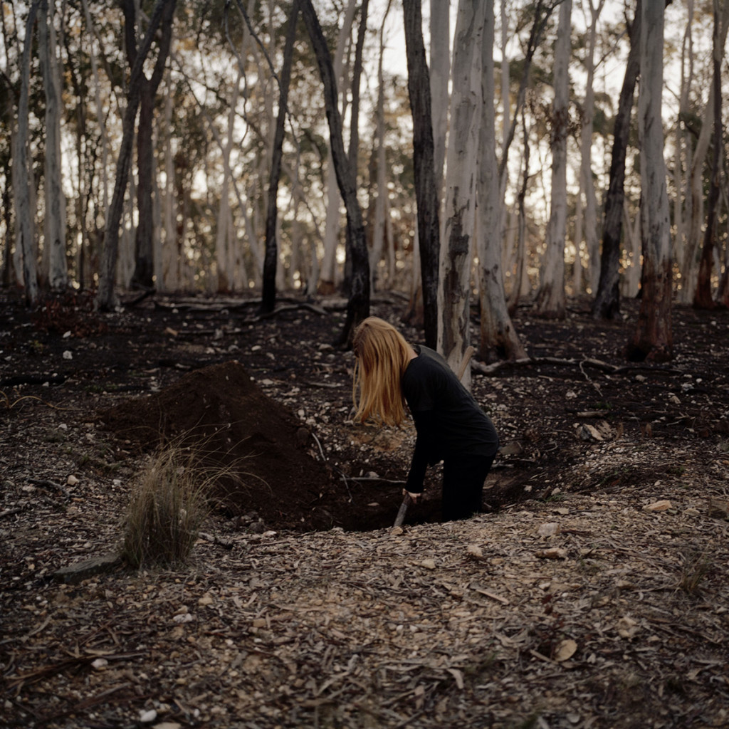 Someone digging in the ground, red, 2015, Pigment print on cotton paper, custom frame stained eucalyptus and rust, 99 x 92cm unframed / 110.4 x 103.4cm framed, Edition of 5 + 2AP