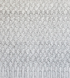 Senkaku (sen o kaku): the tides of history_2013 (detail) pencil on paper 2.7m x 1.2m (image size unframed)