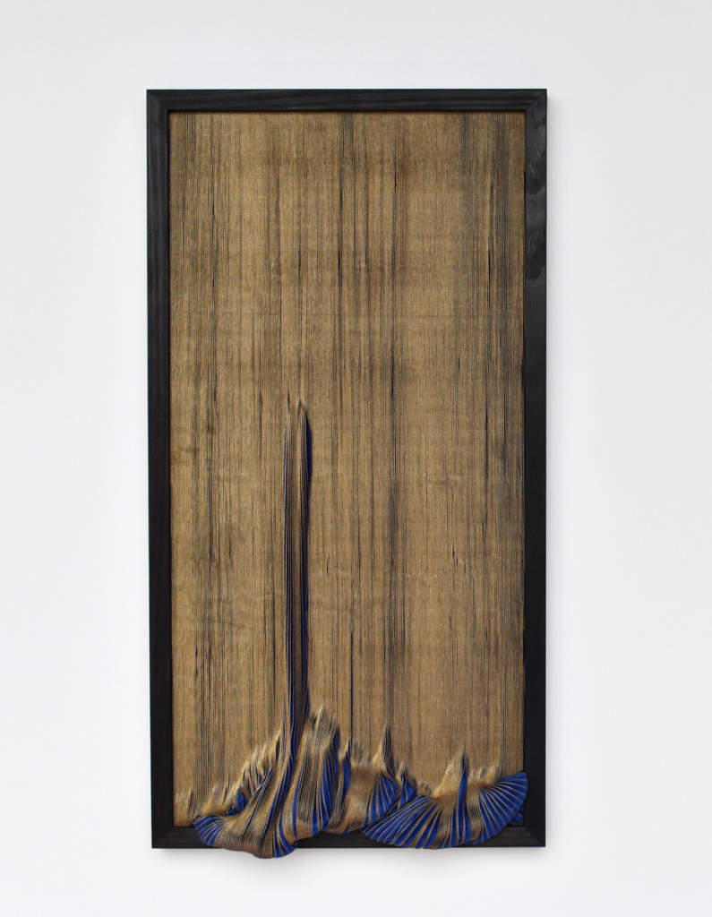 stevie-fieldsend_mira-mira-13_2016_scorched-tasmania-oak-paper-and-pleated-polyester-textile-on-canvas_79-x-41-5-x-4-cm-3