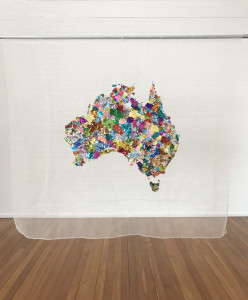 Participatory community embroidery facilitated by Liam Benson, You and Me, 2013-2017, glass seed and bugle beads, sequins, cotton, organza, steel, 132 x 223cm.