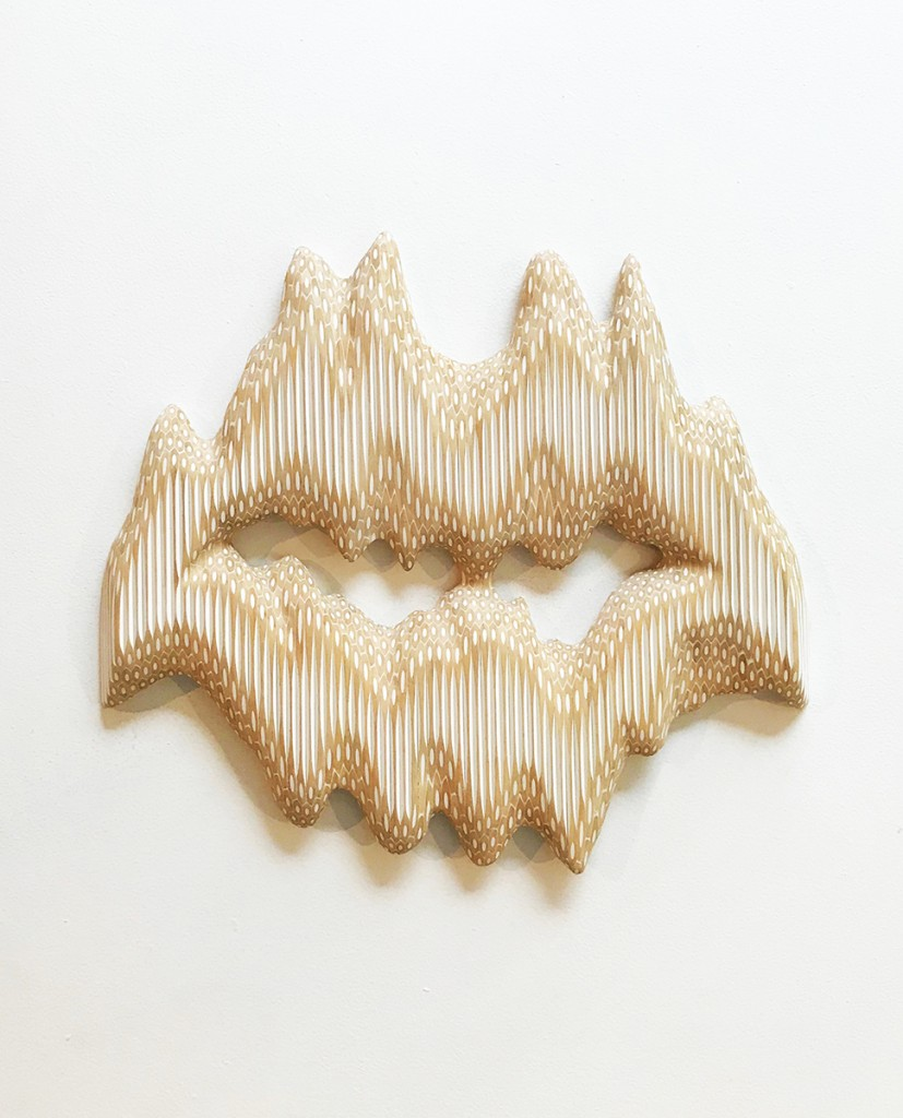 Lionel Bawden Where the cave of my heart meets yours 2019 White pencils, marine epoxy, incralac, metal 48 x 54 x 5cm