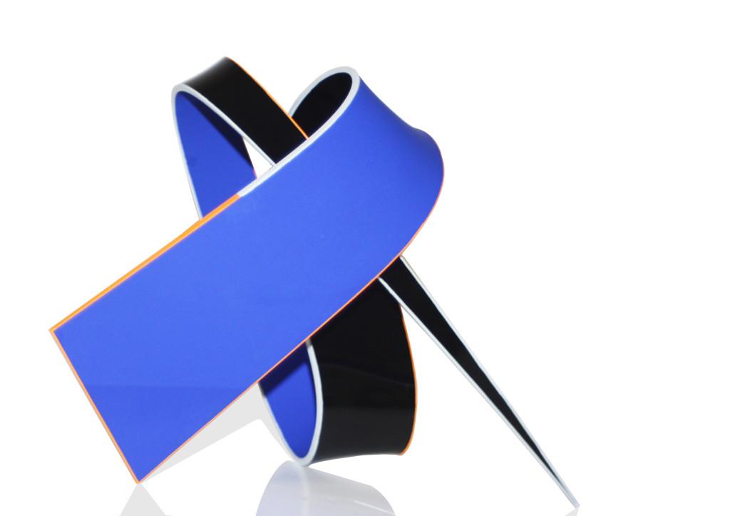POI 37 Cobalt Blue, Black, Cadmium Orange & Neutral Grey_Aluminium & Acrylic Paint_18 x 26 x 13cm_2018