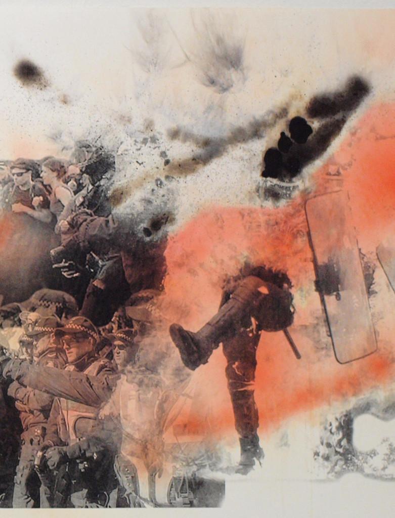 Evan Pank_Keeping-the-Bastards-Honest-2_2018_screen-print-smoke-and-marine-flares_90x192_cropped image