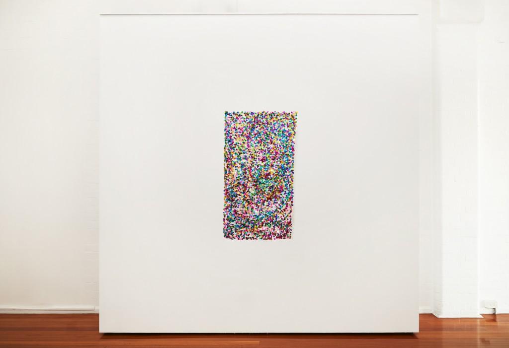 Liam Benson, Deliquescent Jack, 2020, Sequins, glasss beads, acrylic beads, cotton thread, organza 90x51cm, Installation shot by Zan Wimberley.