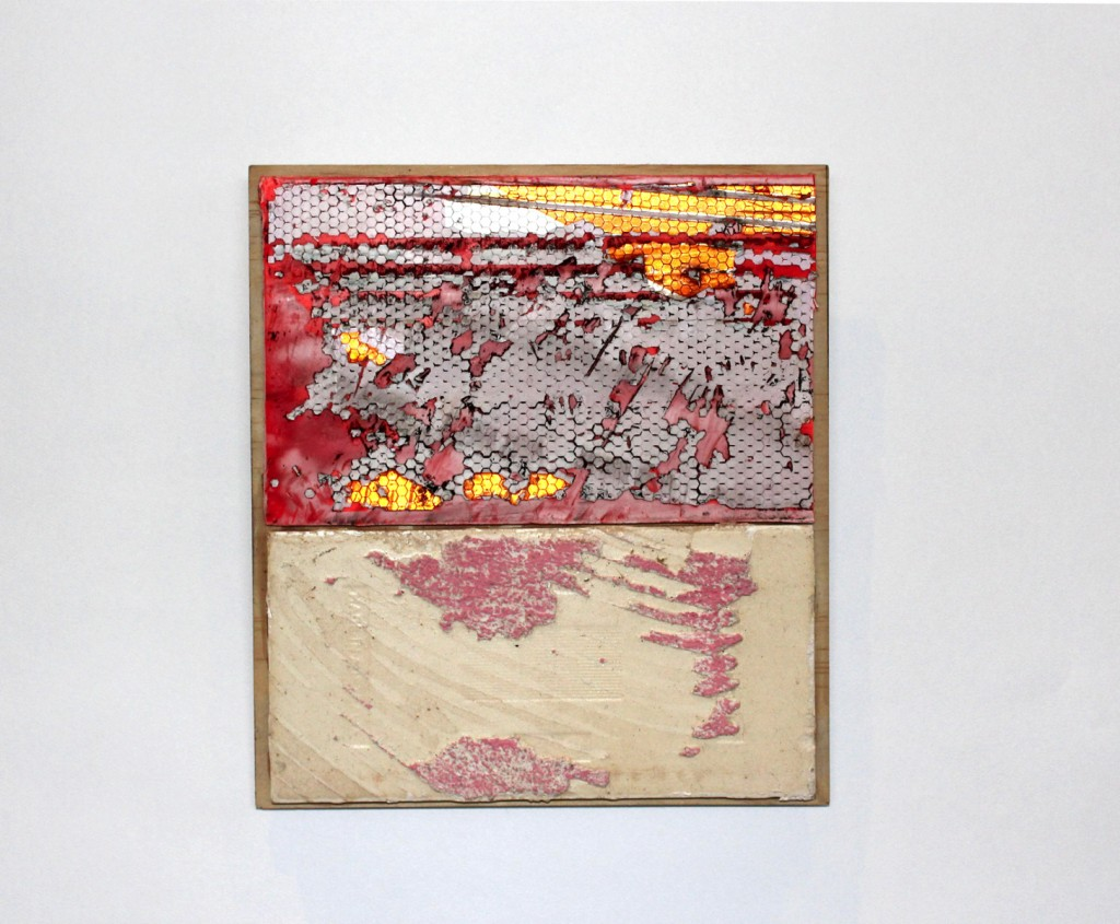 Whelan_Sadie_Detour_2019_found road sign and tile on plywood_21cm x 23cm