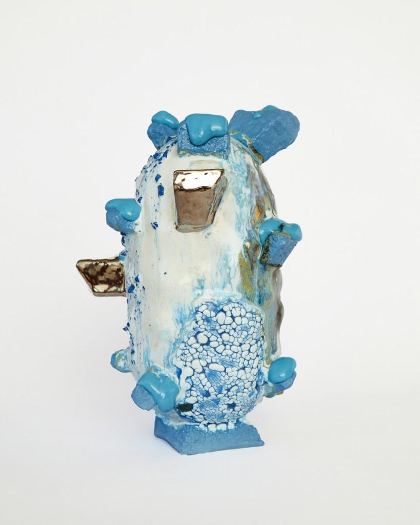Bright Blue Vessel with Platinum Chunks & Blue melt, 2020, Stoneware, Porcelain, Glaze, Gold Lustre, 25 x 17 x 17. 2
