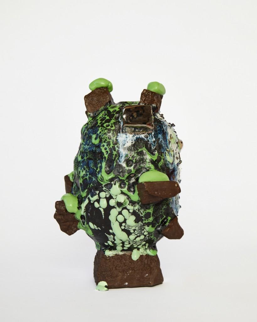 Brown & Green vessel with Platinum Chunks & Green Melt, 2021, Stoneware, Porcelain, Glaze, Platinum Lustre, 25 x 17 x 17. 2