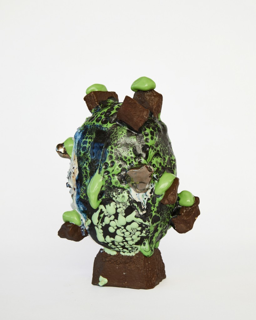 Brown & Green vessel with Platinum Chunks & Green Melt, 2021, Stoneware, Porcelain, Glaze, Platinum Lustre, 25 x 17 x 17.